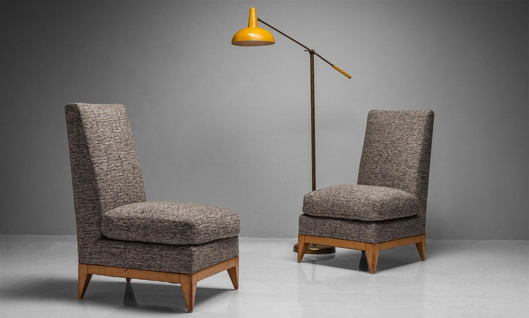French Pair of Sycamore Upholstered Slipper Chairs, France, circa 1950 For Sale