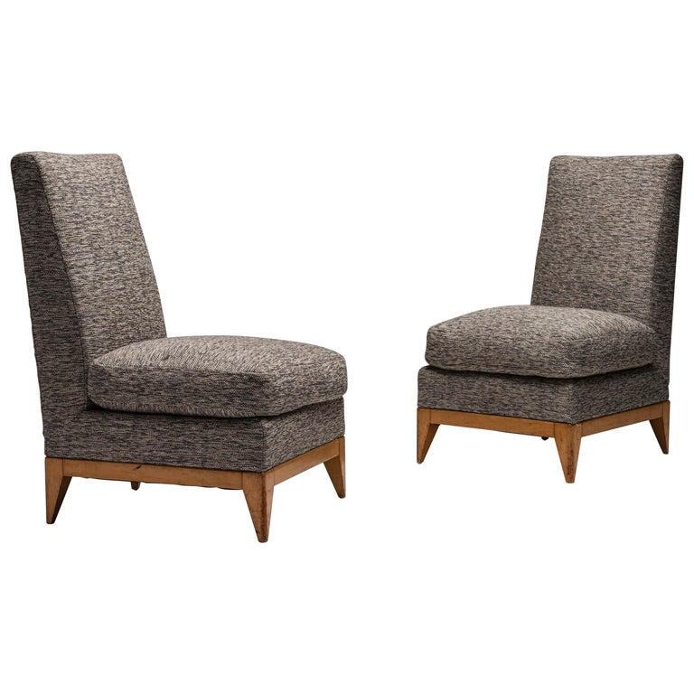 Pair of Sycamore Upholstered Slipper Chairs, France, circa 1950 For Sale