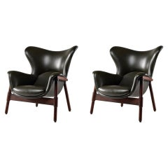 Pair of Synthetic Leather Armchairs and Solid Wood Stands Italian Design, 1950s