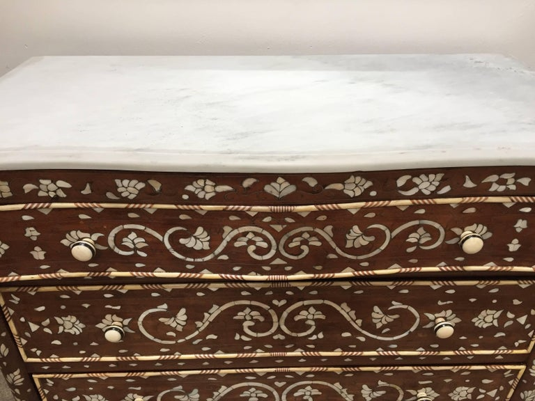 Hand-Carved Pair of Moorish Chest of Drawers, Mother of Pearl Inlay Wedding Dressers For Sale