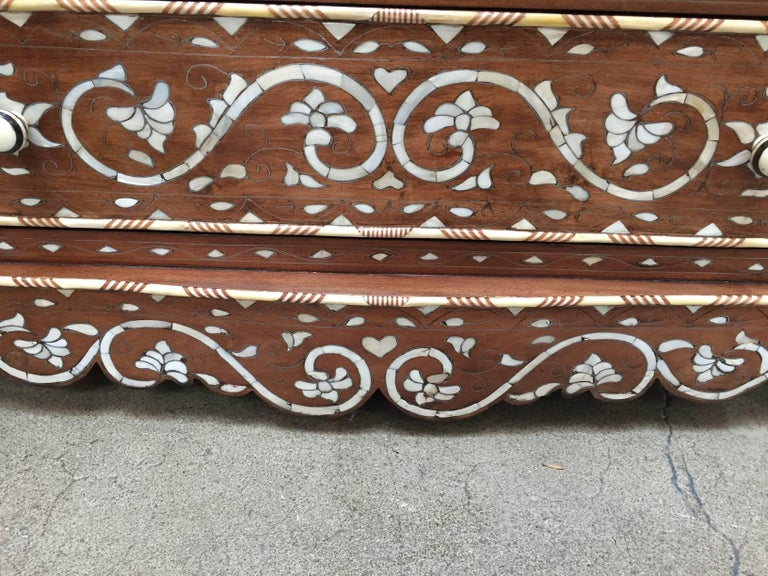 Bone Pair of Moorish Chest of Drawers, Mother of Pearl Inlay Wedding Dressers For Sale