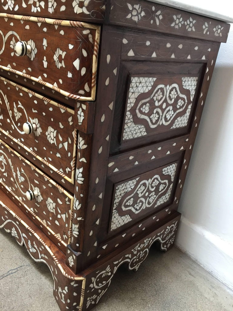 Pair of Moorish Chest of Drawers, Mother of Pearl Inlay Wedding Dressers For Sale 1