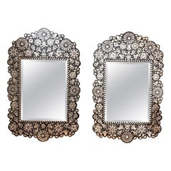 Pair of Antique Ebony and Mother of Pearl Inlaid Mirrors