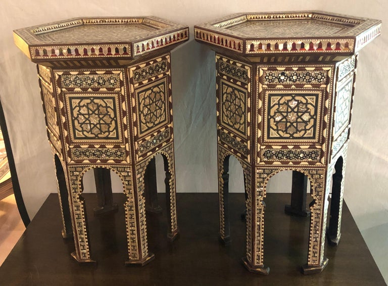 Moorish Pair of Syrian End Tables or Pedestals For Sale