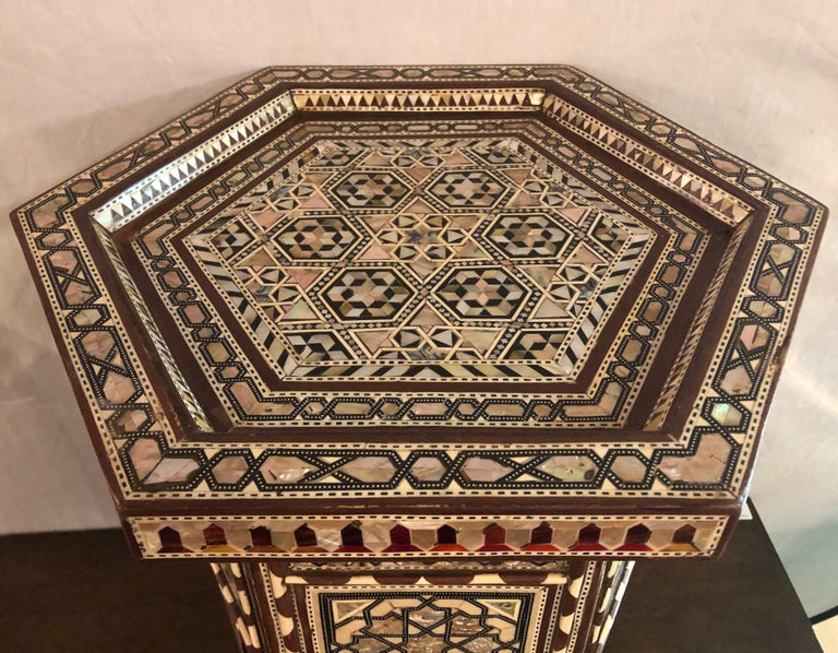 Pair of Syrian End Tables or Pedestals In Good Condition For Sale In Stamford, CT