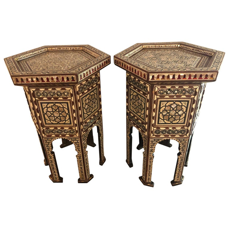 Pair of Syrian End Tables or Pedestals For Sale
