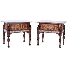 Pair of Syrian Inlaid End Tables