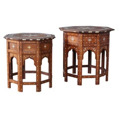 Pair of Syrian Inlaid Side Tables, 1950s