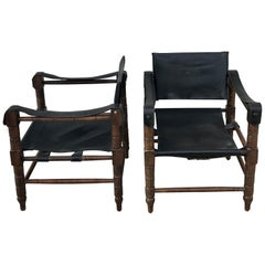 Pair of Syrian Leather Campaign / Safari Chairs