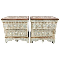 Pair of Syrian Middle Eastern White Mother of Pearl Inlay Dressers