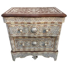 Mother-of-Pearl Inlay Syrian Night Stand, a Pair