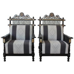 Pair of Syrian Moorish Style Inlaid Chairs, 1950s
