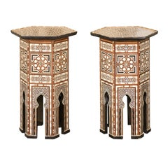 Pair of Syrian Moorish Style Side Tables with Inlaid Mother of Pearl and Bone