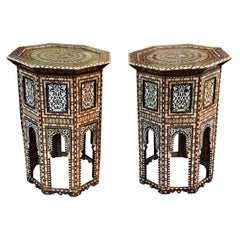 Pair of Syrian Side Tables with Inlaid Mother of Pearl