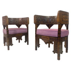 Pair of Syrian Walnut And Parquetry Tub Armchairs