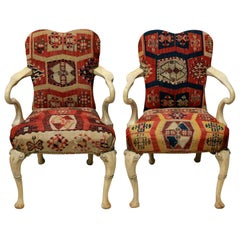 Pair of Syrie Maugham Style Pickled Armchairs in Kilims