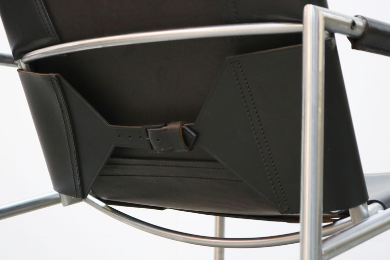 Pair of Lounge Chairs by Martin Visser for Spectrum Black Leather Chrome For Sale 6