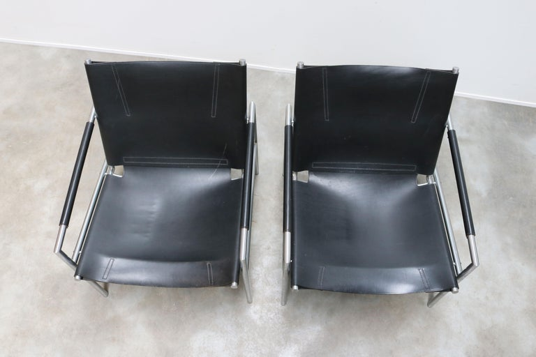 Pair of Lounge Chairs by Martin Visser for Spectrum Black Leather Chrome In Good Condition For Sale In Ijzendijke, NL