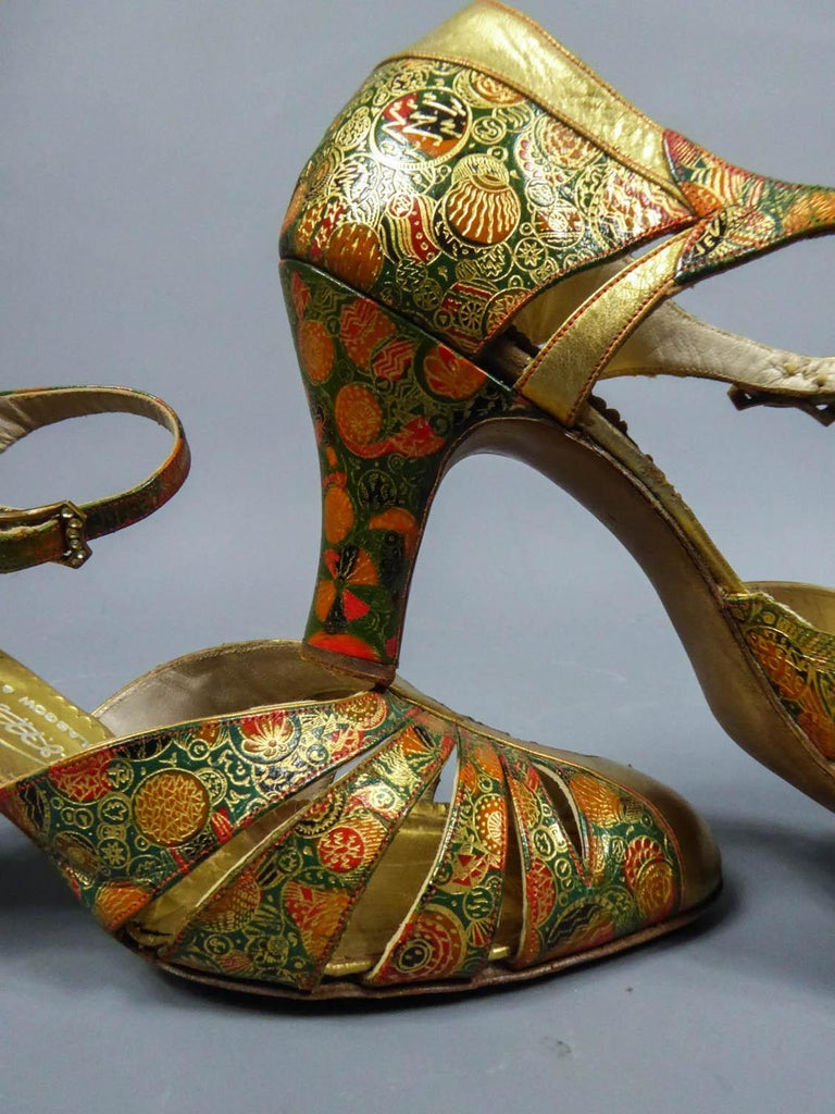 Pair of T-bar golden Salome shoes for the ball Circa 1930 5