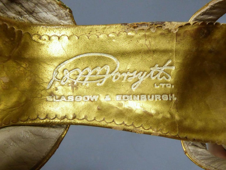 Pair of T-bar golden Salome shoes for the ball Circa 1930 6