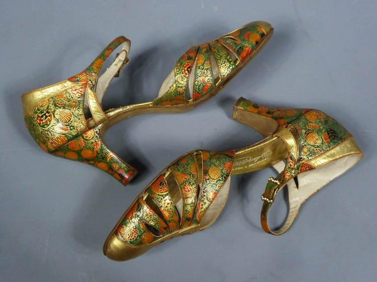 Pair of T-bar golden Salome shoes for the ball Circa 1930 8