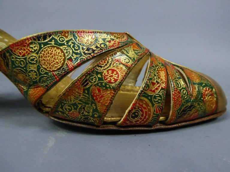 Women's Pair of T-bar golden Salome shoes for the ball Circa 1930