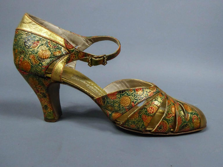 Pair of T-bar golden Salome shoes for the ball Circa 1930 1