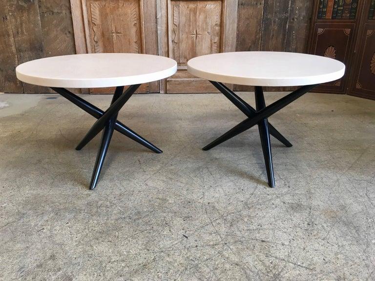 Pair of T. H. Robsjohn-Gibbings for Widdicomb Tripod Occasional Tables For Sale 5