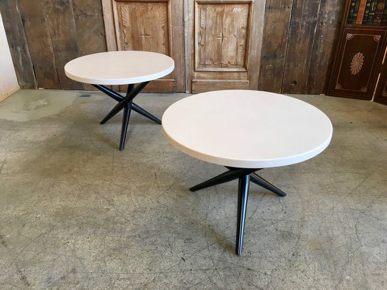American Pair of T. H. Robsjohn-Gibbings for Widdicomb Tripod Occasional Tables For Sale