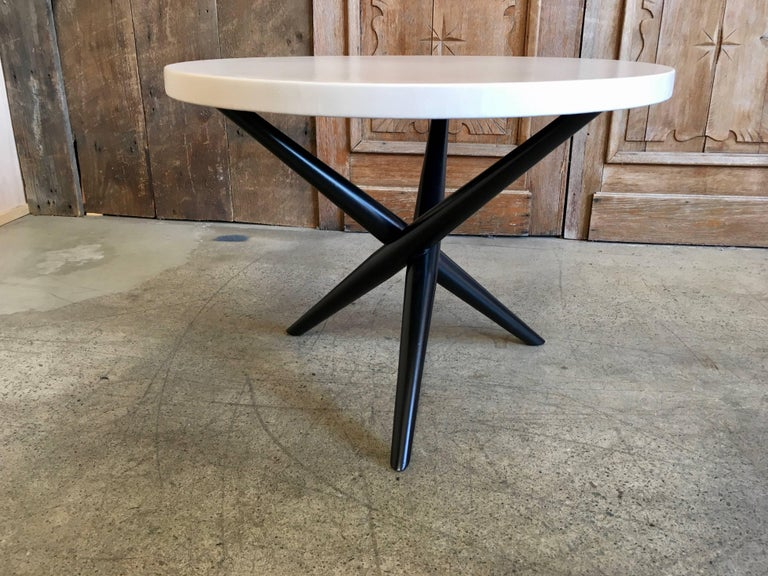 Pair of T. H. Robsjohn-Gibbings for Widdicomb Tripod Occasional Tables In Good Condition For Sale In Laguna Hills, CA