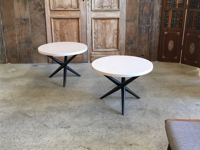 Wood Pair of T. H. Robsjohn-Gibbings for Widdicomb Tripod Occasional Tables For Sale