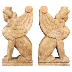 Pair of Table Bases, Sphynx. Travertine Marble