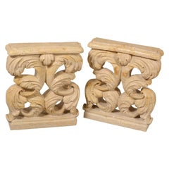 Pair of Table Bases, Travertine Marble