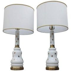 Pair of Table Lamp Italian Design 1960s Opaline Glass White Gold