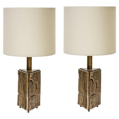 Pair of Table Lamps 60s Italian Design by Luciano Frigerio Cream Silk Shades