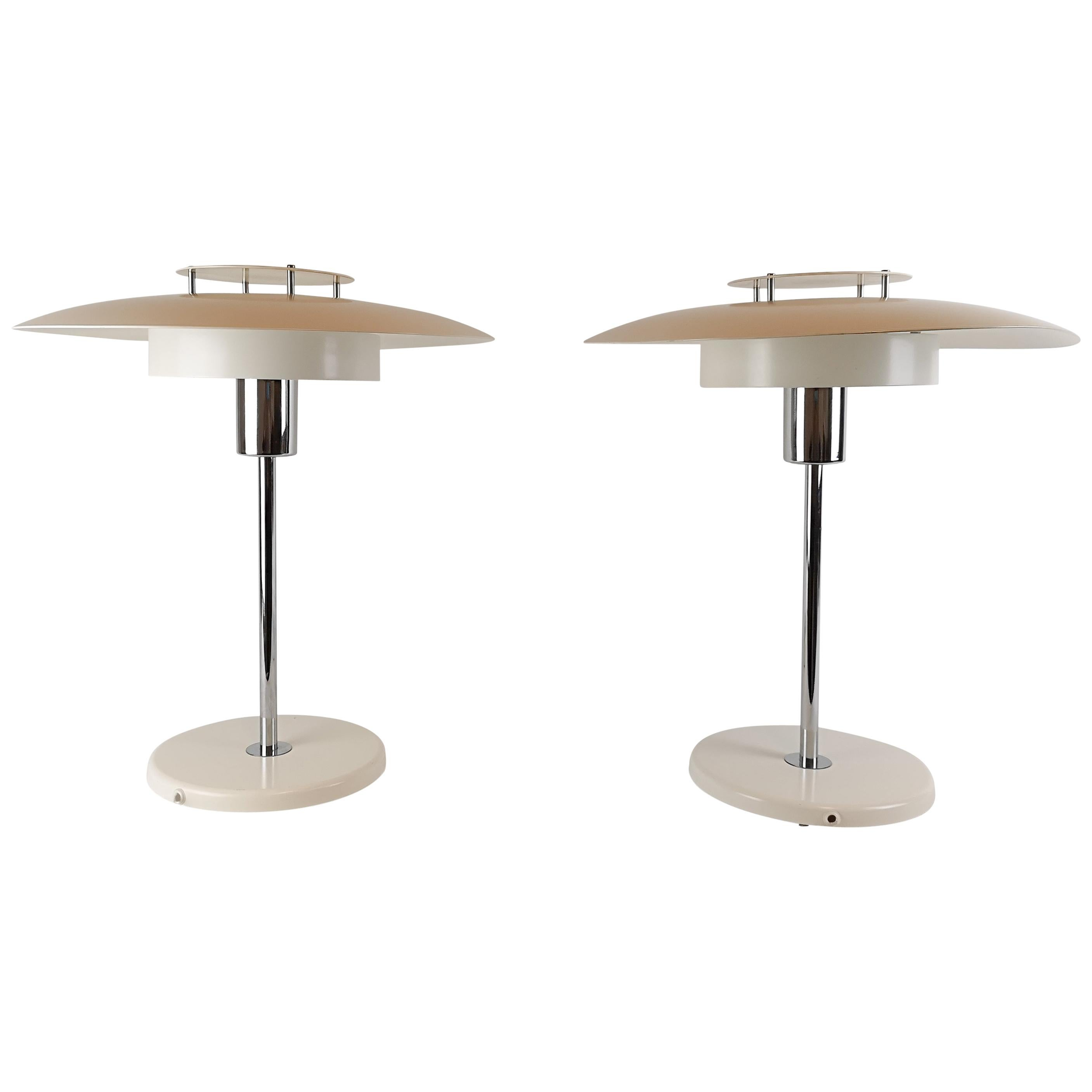 """Pair of Table Lamps """"Aurora"""" Borens, Sweden, 1970s"""