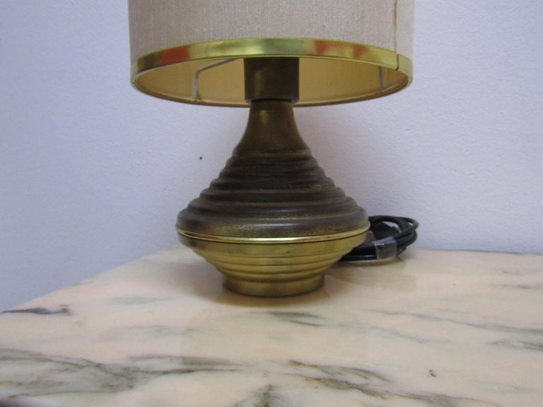 Pair Of Table Lamps Base In Antique Brass For Sale At 1stdibs
