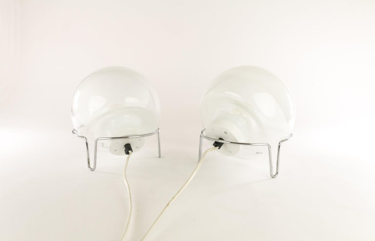 Polychromed Pair of Table Lamps by Angelo Mangiarotti for Skipper For Sale