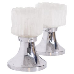 Pair of Table Lamps by Gaetano Sciolari in Satin Glass and Chrome Metal