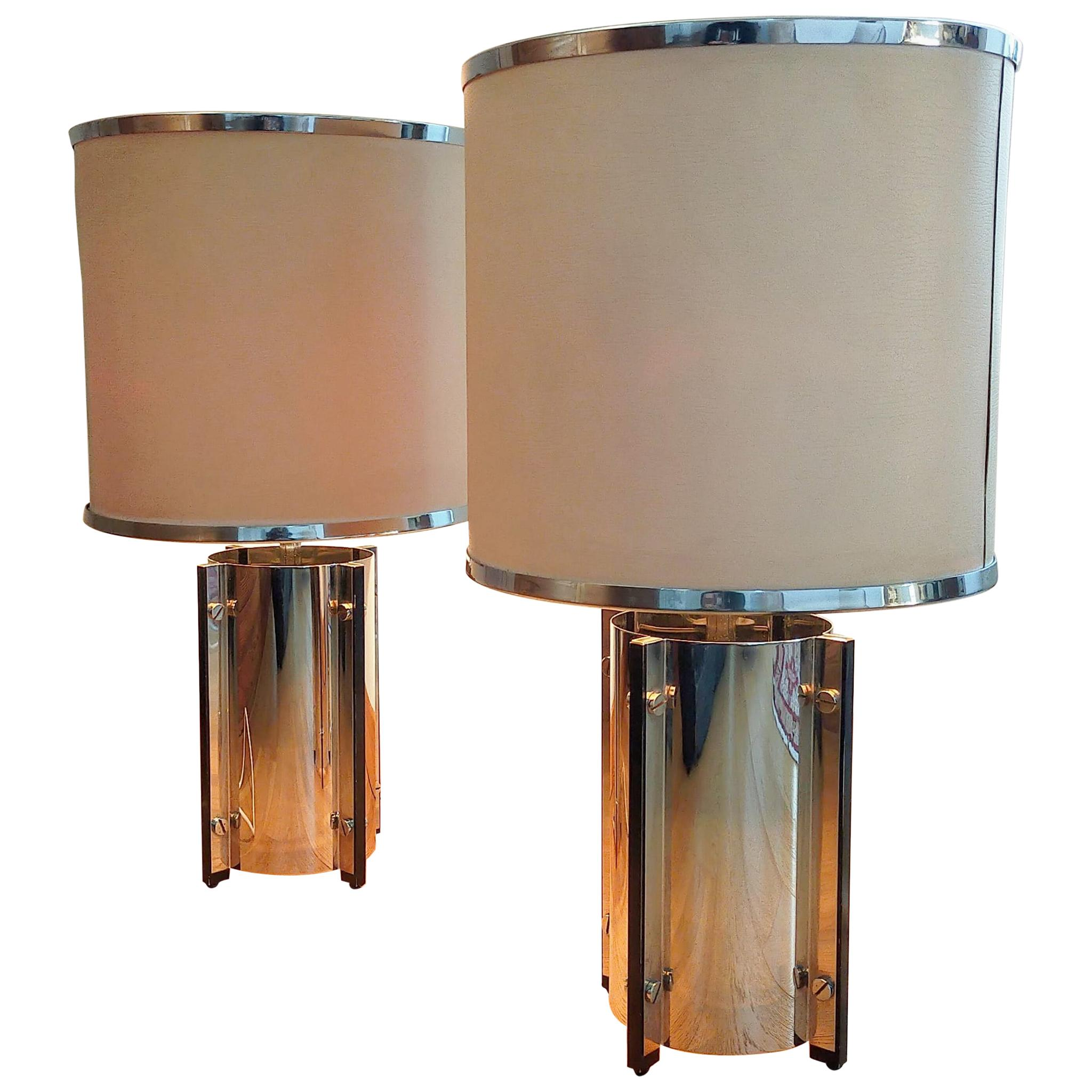 Pair of Table Lamps by Gaetano Sciolari, Italy, 1970s