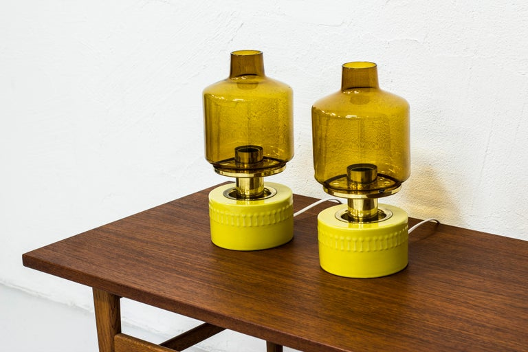 Scandinavian Modern Pair of Table Lamps by Hans Agne Jakobsson, Sweden, 1970s For Sale