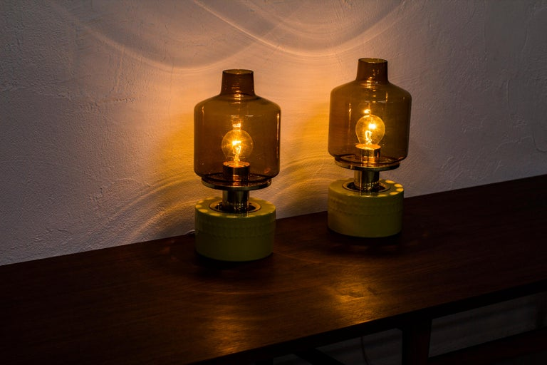 Brass Pair of Table Lamps by Hans Agne Jakobsson, Sweden, 1970s For Sale