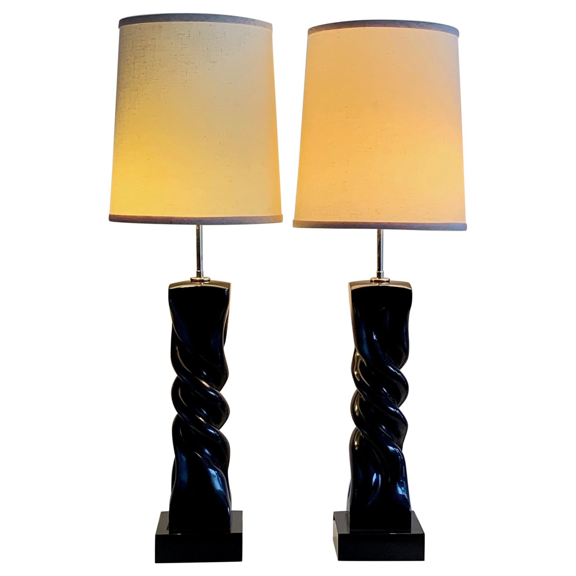 Pair of Table Lamps by Heifetz in Black Lacquer