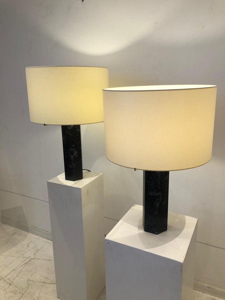 Mid-Century Modern Pair of Table Lamps by Jules Wabbes in Black Marble For Sale