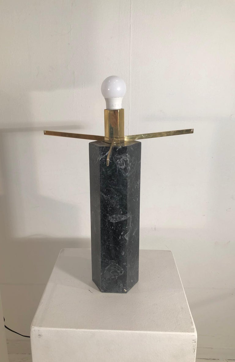 Pair of Table Lamps by Jules Wabbes in Black Marble In Good Condition For Sale In Brussels, BE