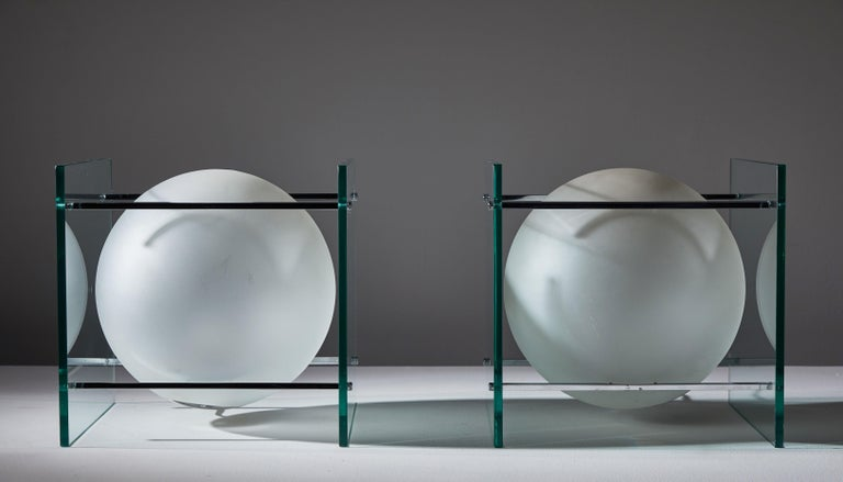 Glass Pair of Table Lamps by Lumi For Sale