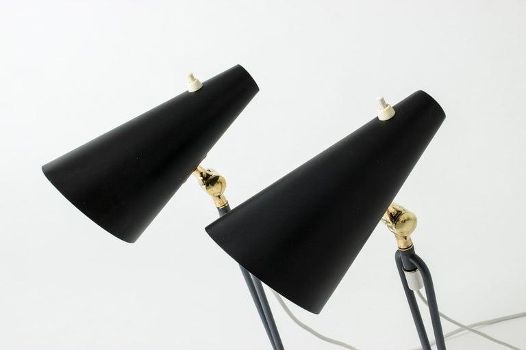 Metal Pair of Table Lamps Designed by Bertil Brisborg for Nordiska Kompaniet, Sweden For Sale
