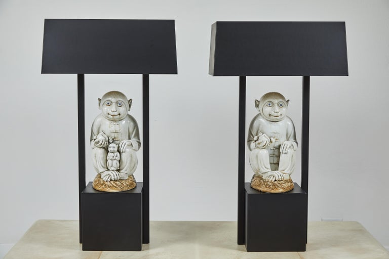 Mid-Century Modern Pair of Table Lamps Featuring Chinese Monkeys Designed by Billy Haines For Sale