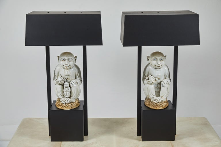 Mid-20th Century Pair of Table Lamps Featuring Chinese Monkeys Designed by Billy Haines For Sale