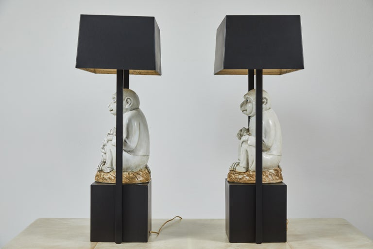 Porcelain Pair of Table Lamps Featuring Chinese Monkeys Designed by Billy Haines For Sale